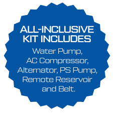 Water Pump, AC Compressor, Alternator, Power Steering Pump, Reservoir and Belt